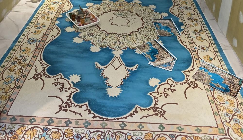 ペルシャ絨毯柄の床